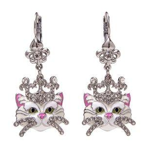Cat Kitty Drop Leverback Earrings-White/Silvertone
